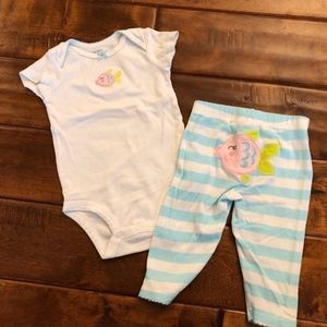 Baby girl matching onesie and pant set